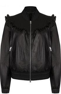 Однотонная кожаная куртка на молнии DROMe