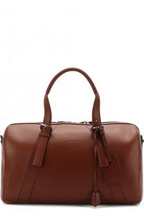 Кожаная дорожная сумка с плечевым ремнем Brioni