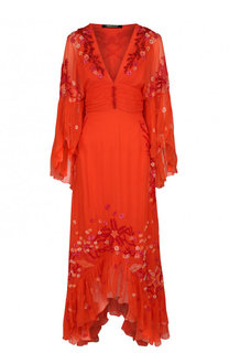 Приталенное шелковое платье асимметричного кроя Roberto Cavalli