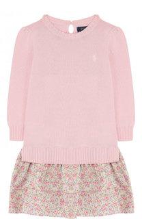 Комбинированное мини-платье из хлопка с принтом на юбке Polo Ralph Lauren