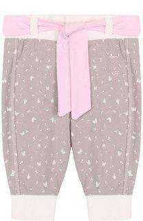 Хлопковые брюки с эластичными манжетами и поясом Sanetta Fiftyseven
