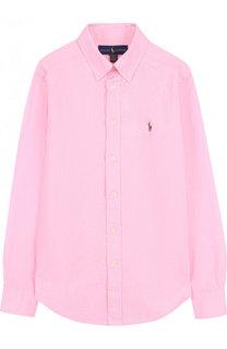 Рубашка из смеси хлопка и льна с воротником button down Polo Ralph Lauren