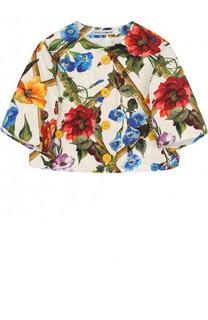 Жакет из смеси хлопка и шелка с принтом и круглым вырезом Dolce & Gabbana