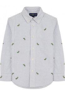 Хлопковая рубашка с воротником button down и вышивкой Polo Ralph Lauren