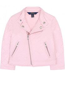 Стеганая текстильная куртка с косой молнией и воротником-стойкой Polo Ralph Lauren