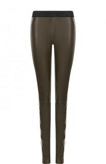 Кожаные брюки-скинни с лампасами DROMe