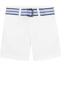 Хлопковые шорты с контрастным ремнем Polo Ralph Lauren