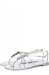 Сандалии из металлизированной кожи с кристаллами Giuseppe Zanotti Design