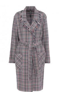 Хлопковое пальто с поясом и накладными карманами Raquel Allegra