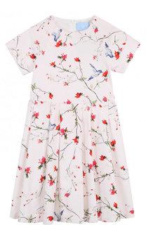 Хлопковое платье-миди с принтом Lanvin