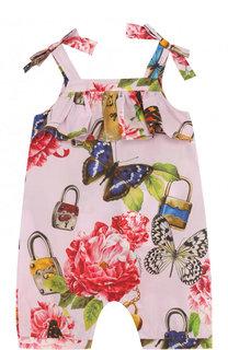 Хлопковый песочник с принтом и оборками Dolce & Gabbana