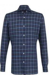 Льняная рубашка с воротником кент Luigi Borrelli