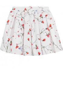 Хлопковая юбка свободного кроя с принтом Lanvin