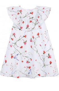 Хлопковое платье A-силуэта с принтом и оборкой Lanvin