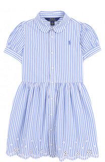 Хлопковое платье с вышивкой и фестонами Polo Ralph Lauren