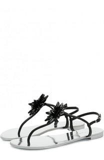 Кожаные сандалии с цветочной аппликацией Giuseppe Zanotti Design
