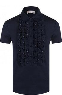 Хлопковая блуза с коротким рукавом и фактурной отделкой REDVALENTINO