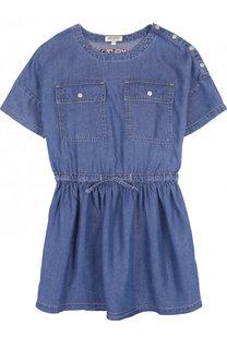 Мини-платье из вискозы с поясом Kenzo