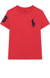 Хлопковая футболка с вышивкой Polo Ralph Lauren