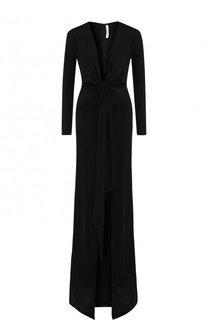 Платье-макси с глубоким V-образным вырезом и бантом Givenchy