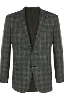 Однобортный пиджак из смеси шерсти и шелка со льном Brioni