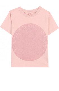 Хлопковая футболка с глиттером Stella McCartney