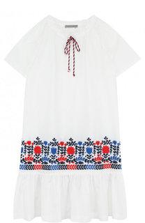 Хлопковое мини-платье свободного кроя с вышивкой Ermanno Scervino