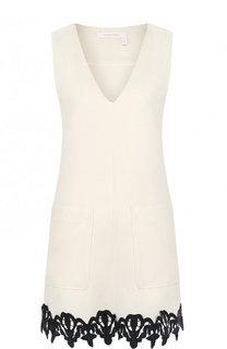 Приталенное мини-платье с кружевной отделкой See by Chloé
