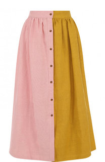 Хлопковая юбка-миди с широким поясом Tata Naka