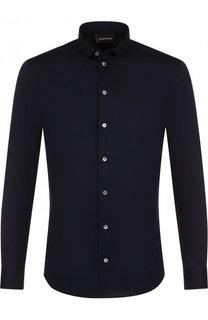 Хлопковая рубашка с воротником кент Emporio Armani