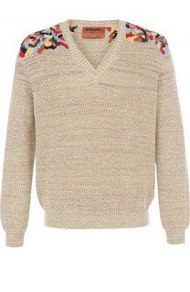 Хлопковый пуловер тонкой вязки с вышивкой Missoni