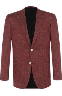 Однобортный пиджак из смеси хлопка и шелка со льном Brioni