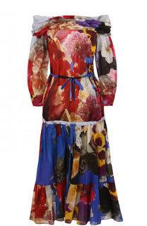 Приталенное платье из смеси хлопка и льна с принтом Roberto Cavalli