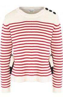 Хлопковый пуловер свободного кроя в полоску REDVALENTINO