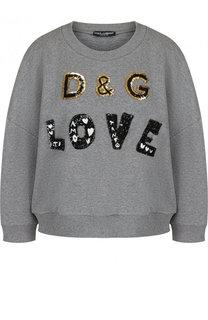 Хлопковый свитшот свободного кроя с пайетками Dolce & Gabbana