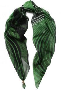 Шелковый платок с принтом и фигурной булавкой Roberto Cavalli