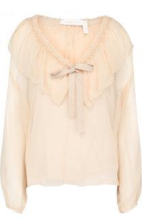 Шелковая блуза свободного кроя с оборками See by Chloé