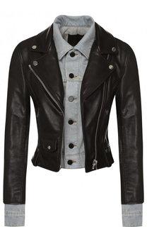 Приталенная кожаная куртка с джинсовой вставкой Alexander Wang