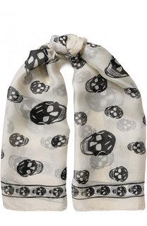 Шелковый шарф с принтом в виде черепов Alexander McQueen