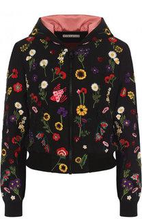 Укороченная шелковая куртка с цветочной вышивкой Alice + Olivia