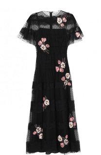 Кружевное платье-миди с цветочной отделкой REDVALENTINO