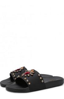 Резиновые шлепанцы с отделкой Dolce & Gabbana