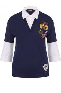 Шерстяной пуловер с хлопковыми вставками и контрастными нашивками Dsquared2