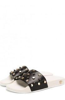 Кожаные шлепанцы с заклепками Versace