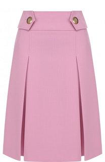 Однотонная юбка-миди с широким поясом Emilio Pucci