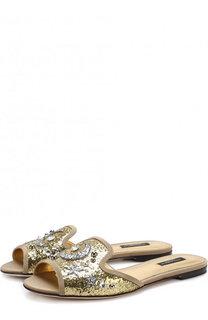 Шлепанцы Bianca с глиттером и аппликациями Dolce & Gabbana