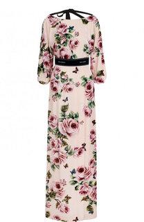 Бархатное платье-макси с цветочным принтом Dolce & Gabbana
