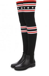 Резиновые сапоги с вязаной отделкой Givenchy