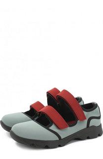 Текстильные кроссовки с застежками велькро Marni