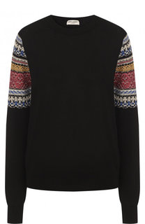 Хлопковый пуловер с круглым вырезом Saint Laurent